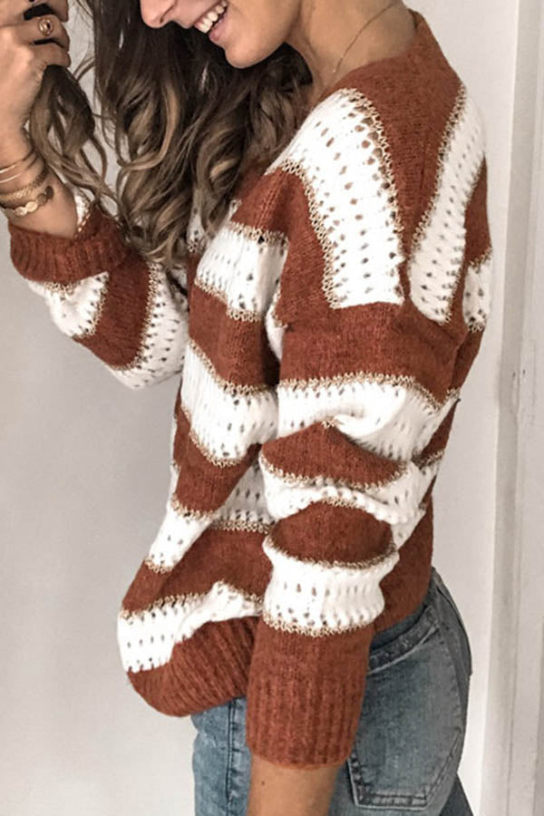 Contrast Knitted V-Neck Striped Sweater