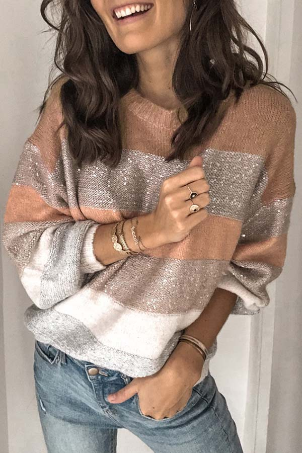 Loose Round Neck Patchwork Knit Sweater
