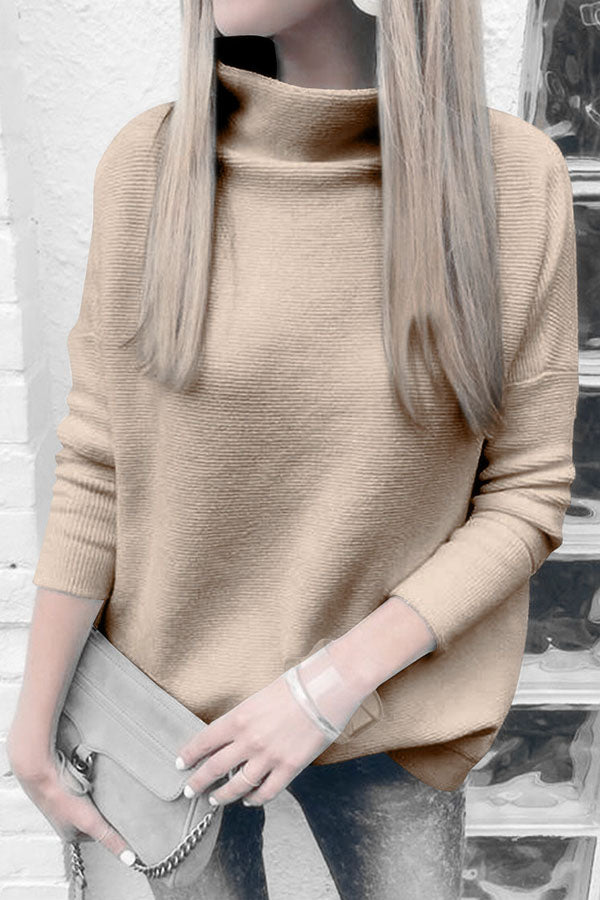 Solid Color High Neck Long Sleeve Sweater