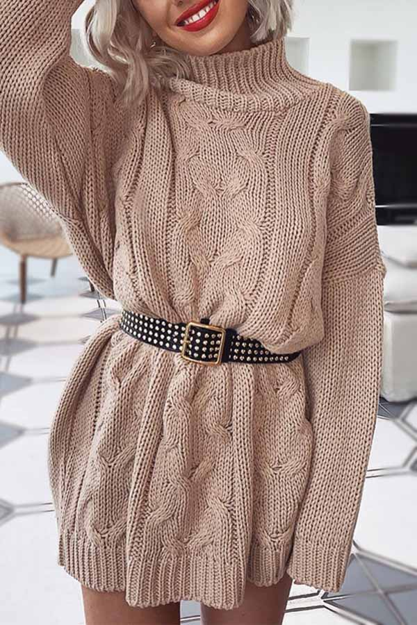 Loose High Collar Long Sleeve Dress
