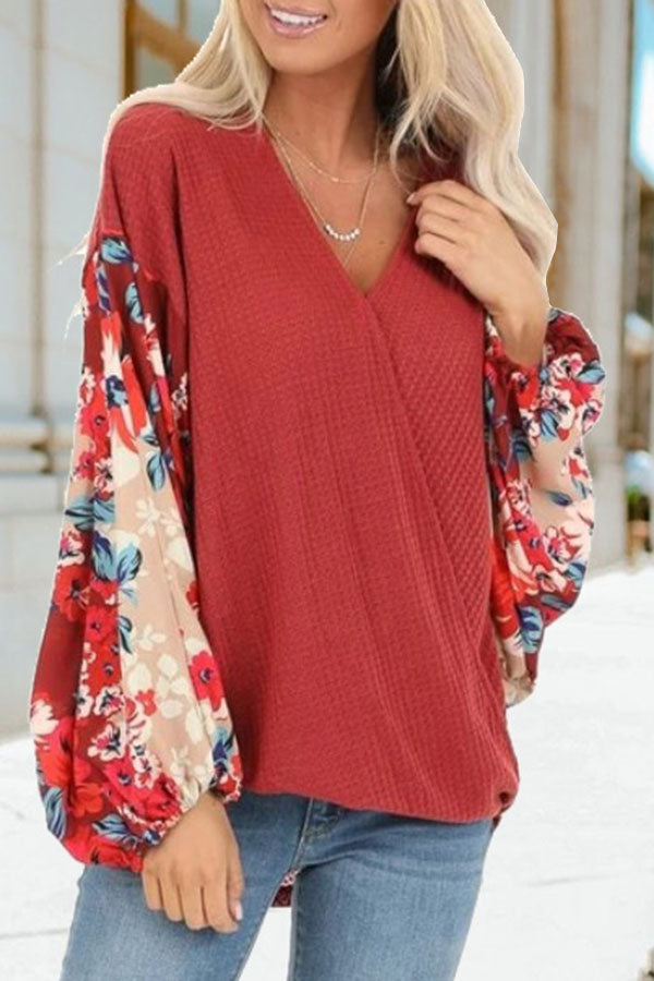 Printed Round Neck Pullover Long Sleeve Top