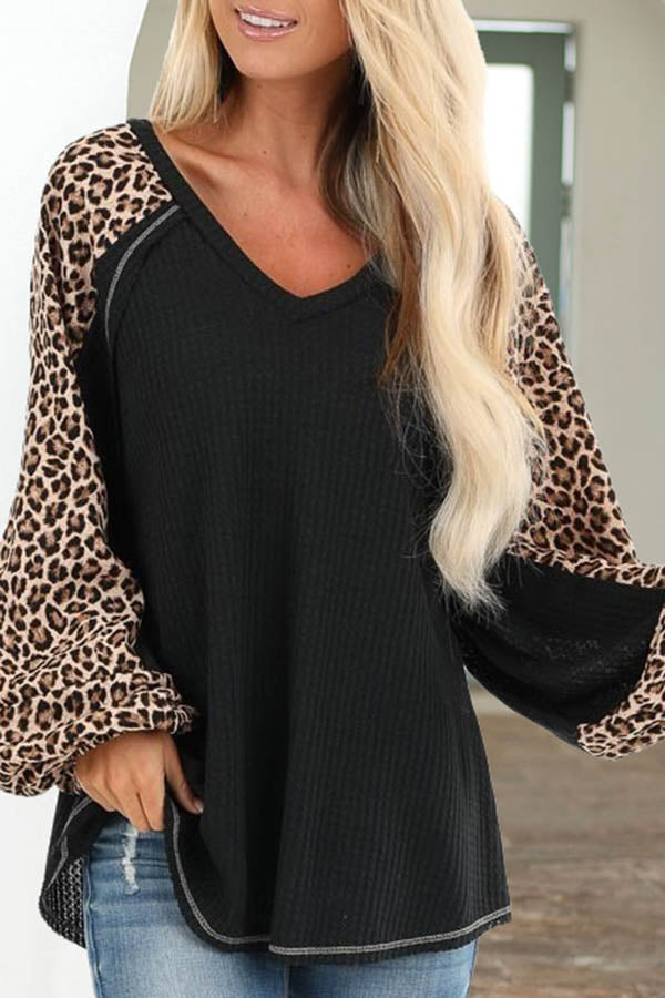 V-Neck Long Sleeve Patchwork Top