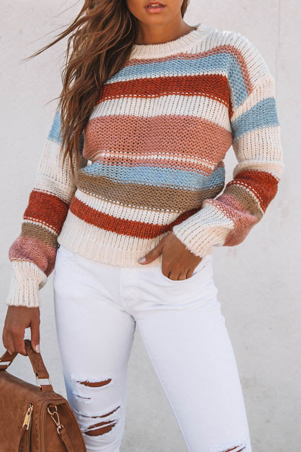 Collision Color Round Collar Sweater