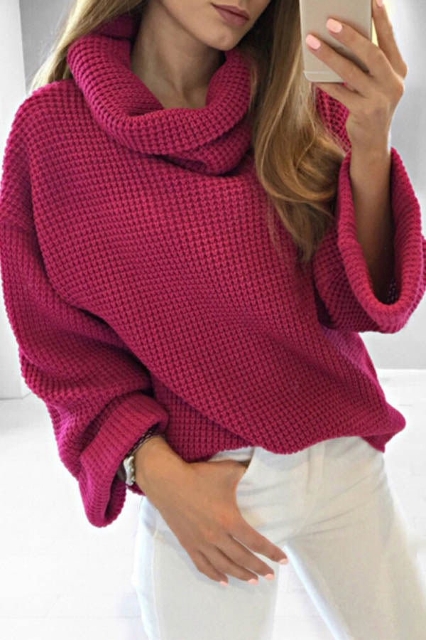 Solid Color High Neck Sweater