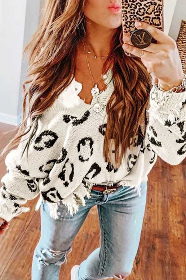 Long Sleeve Loose Leopard Top