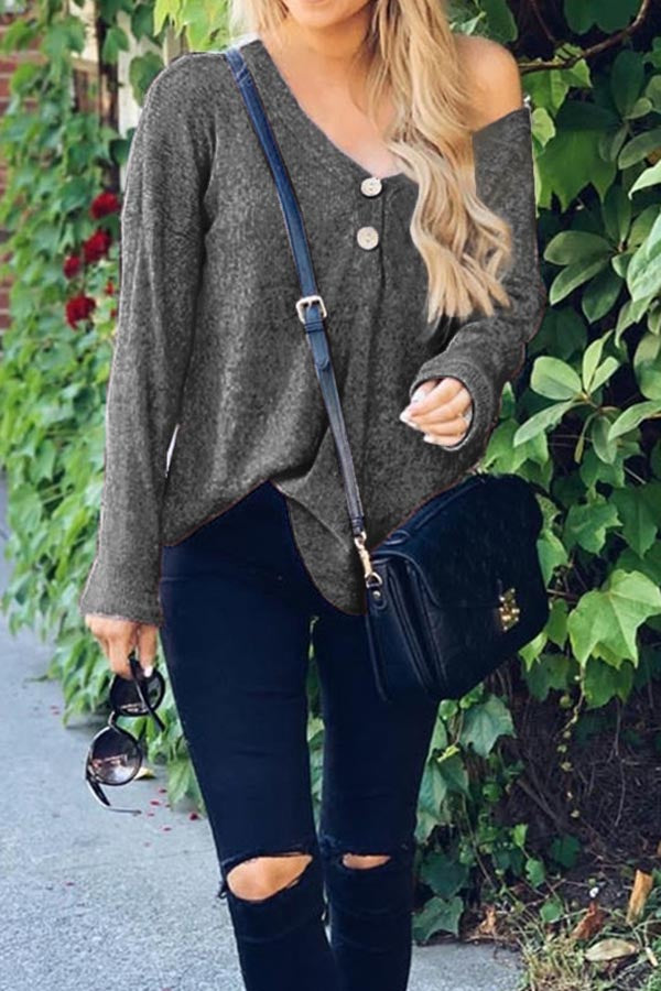 Button V-Neck Loose Knit Sweater
