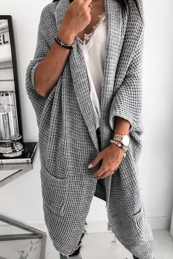 Solid Color Pocket Cardigan