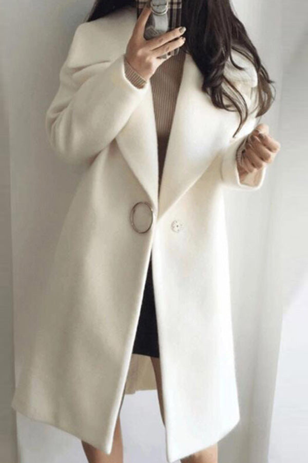 Lapel Button Pocket Wool Coat