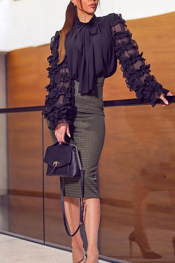 Layered Transparent Sleeve Lace-Up Top