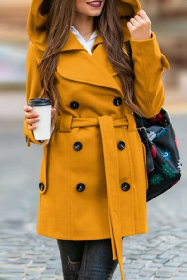 Solid Color Cap Lace-Up Coat