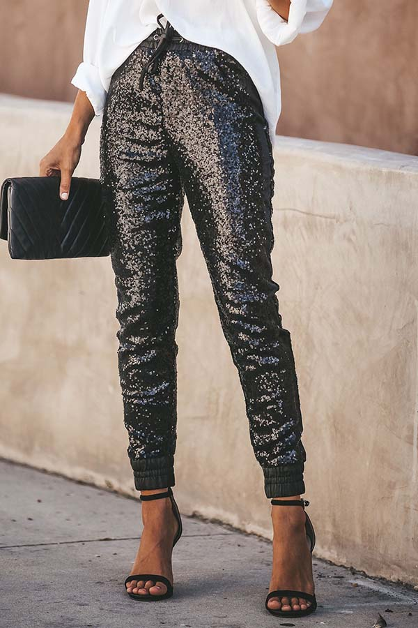 PU Leather Elastic Sequin Pants