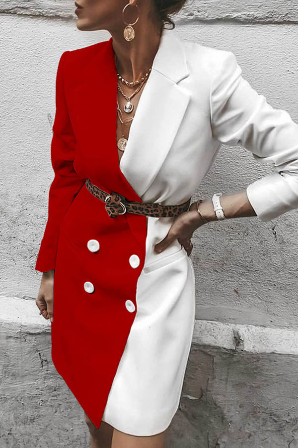 Collision Color Lapel Blazer Dress