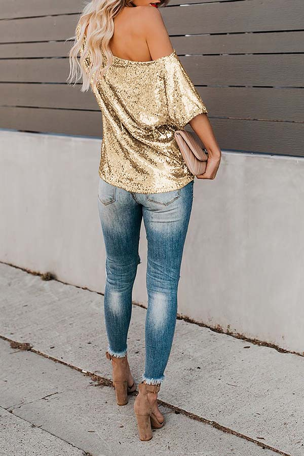 Solid Color Sequin Off Shoulder Short Sleeve Top