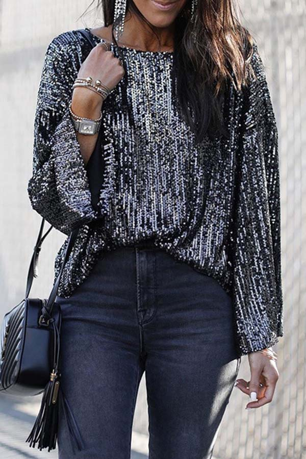 Loose Round Neck Sequin Long Sleeve Top