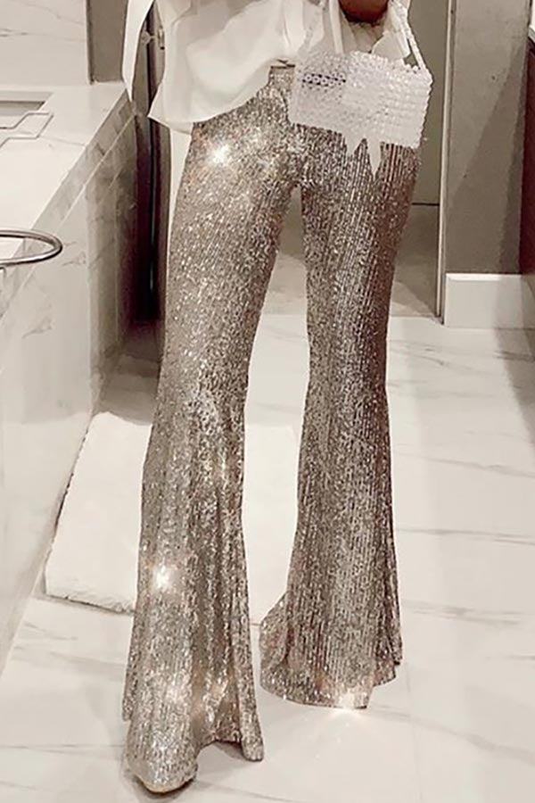 High Waist Tight Sequin Flared Pants