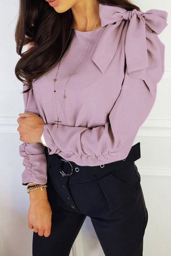 Double Sleeve Wrinkle Bow Solid Color Top