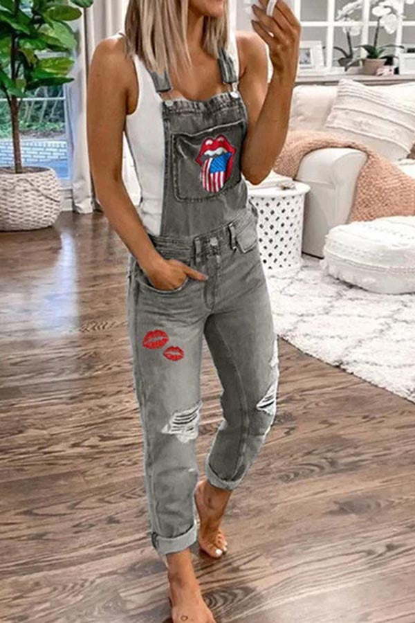 Denim Print Suspender Jeans