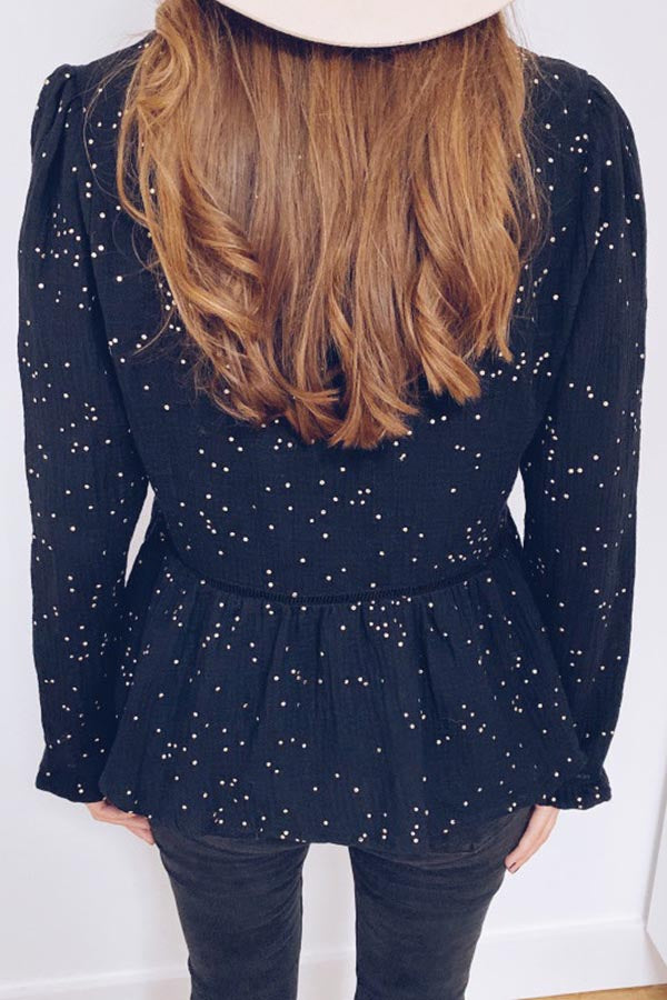 V-Neck Star Print Puff Sleeve Top