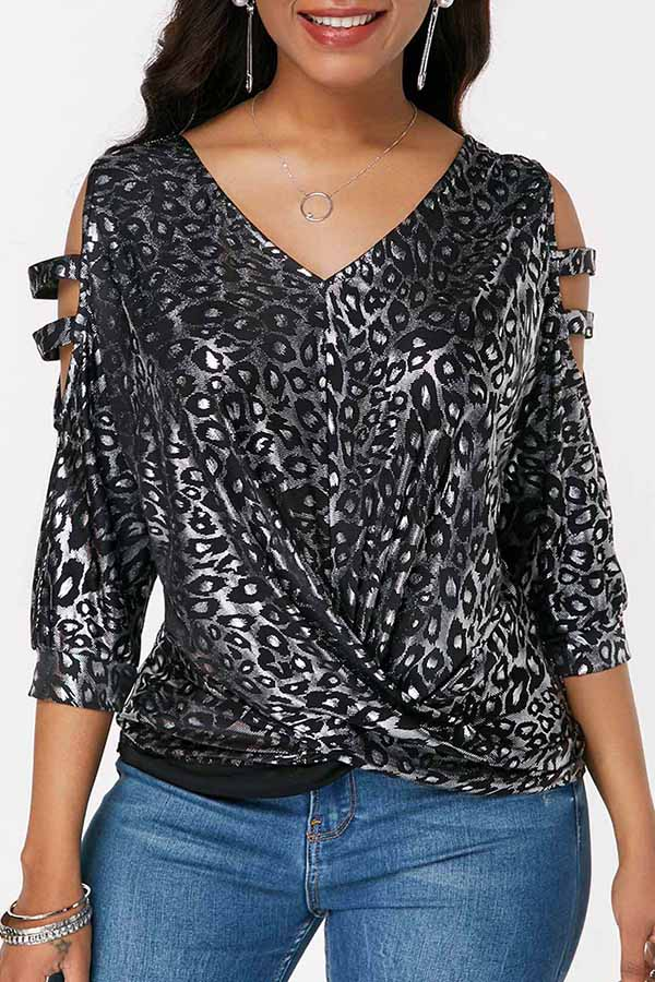 Irregular V-Neck Leopard Print Top