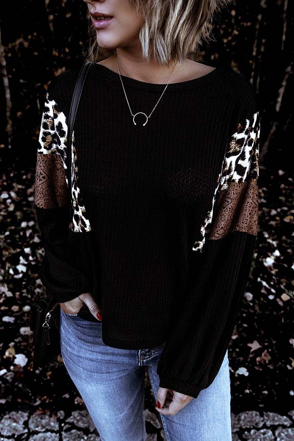 Round Collar Leopard Print Patchwork Top