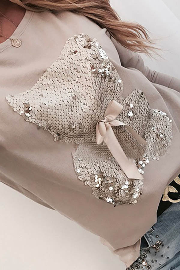 Solid Color Doll Sequin Patchwork Top