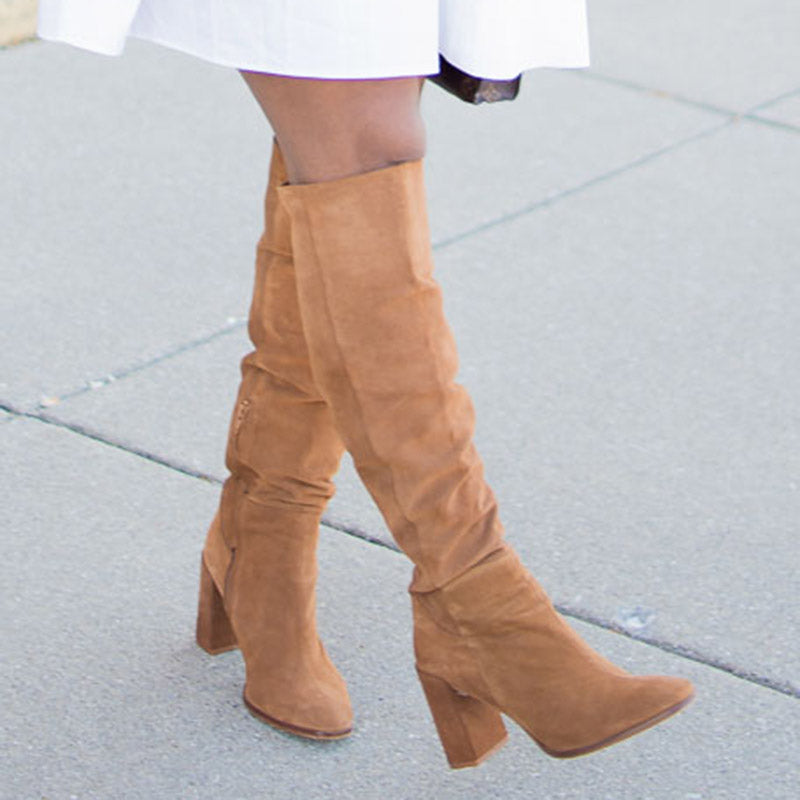 Solid Color High Boots