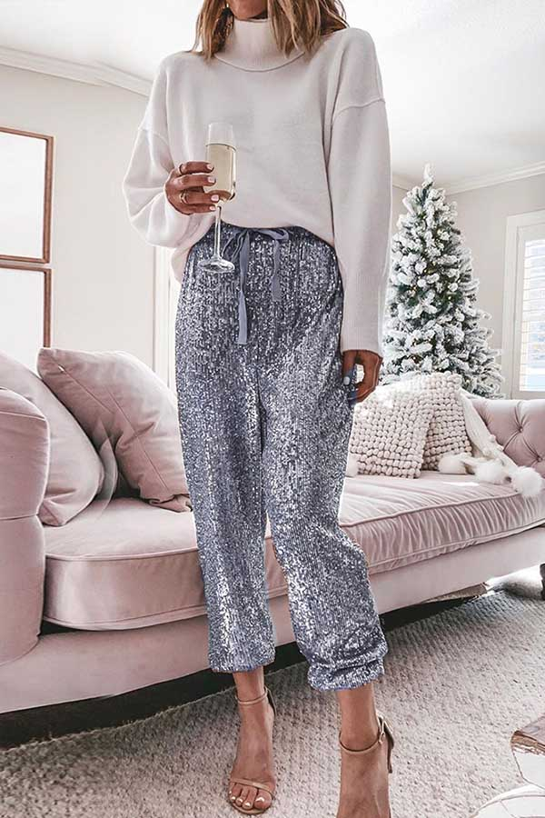 Sequin Elastic Belt Pants