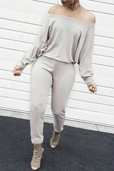 Long Sleeve Off Shoulder Regular Plain Jumpsuit