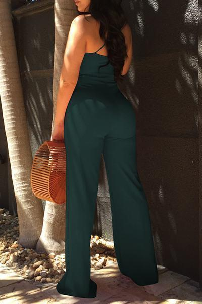 Plain Deep V Neck Sleeveless Long Jumpsuit