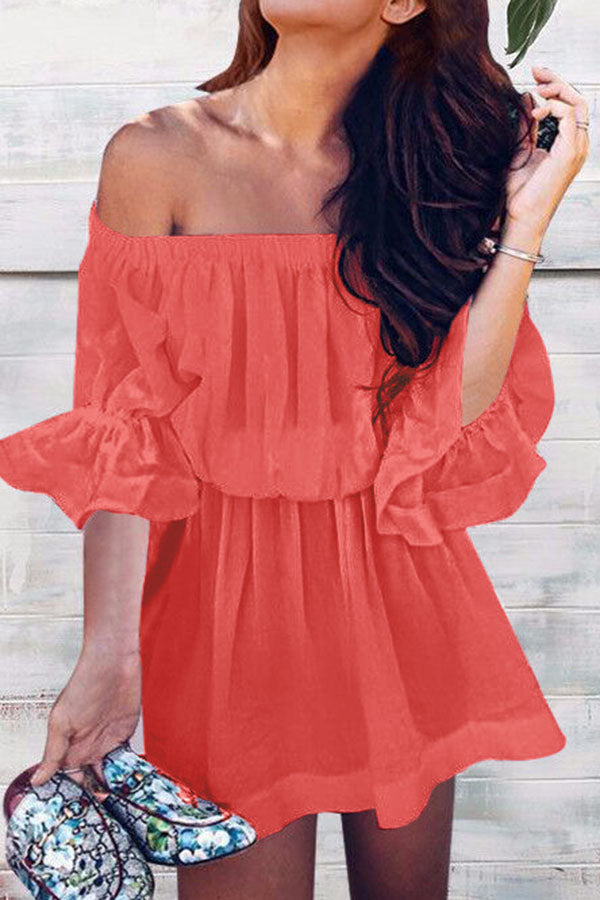 Solid Colour Off Shoulder Drape Dress