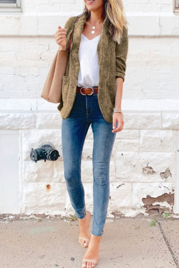 Solid Color Pocket Blazer Coat