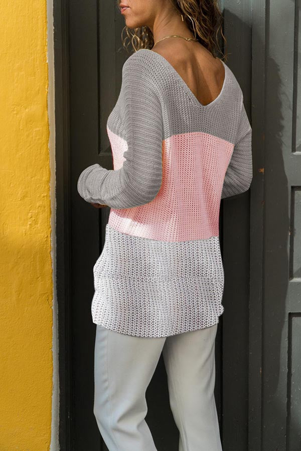 V-Neck Collision Color Sweater