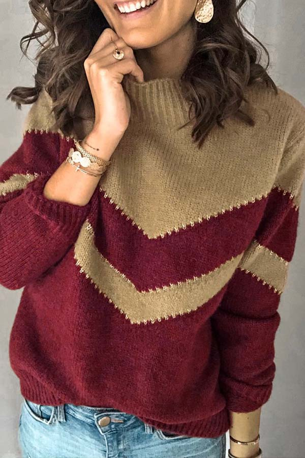 Loose Collision Color Knitted Sweater