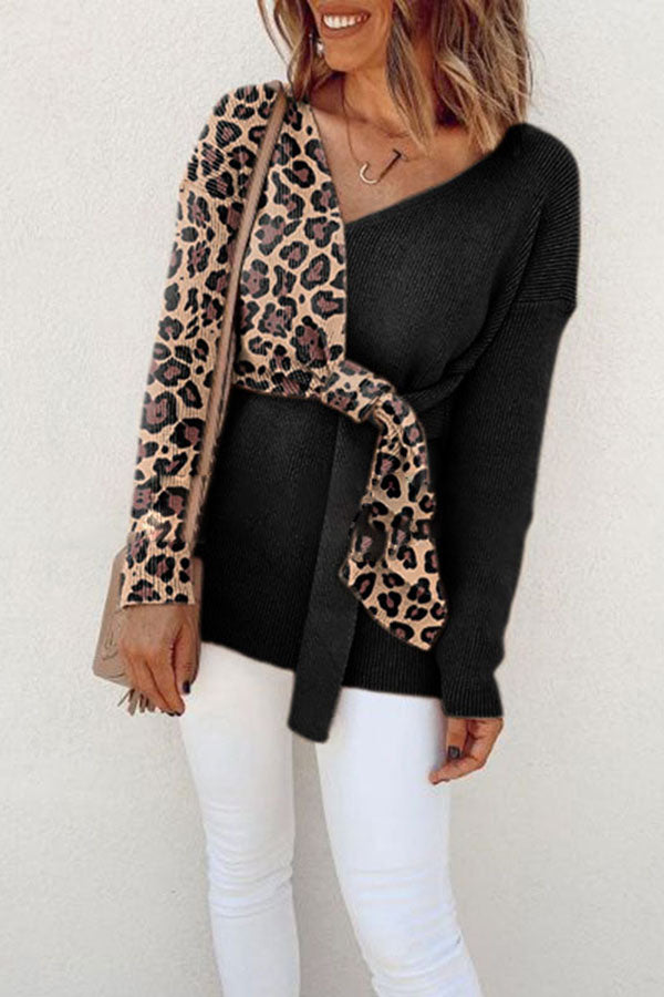 Leopard Print Splicing Top