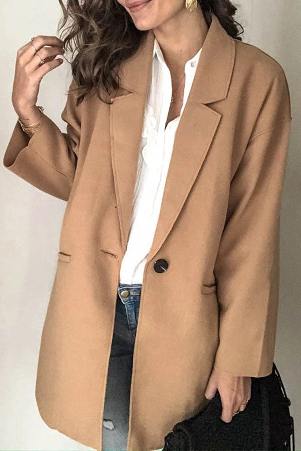 Solid Collar Lapel Loose Blazer
