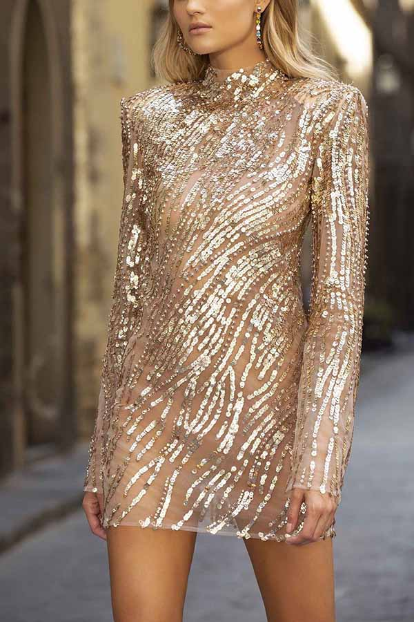 Sequin High Neck Long Sleeve Dress