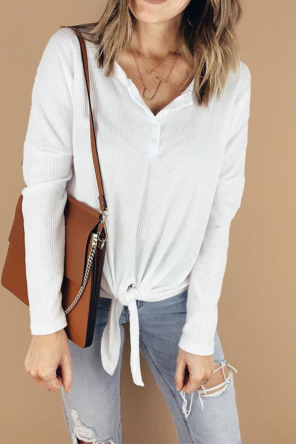 Solid Color Lace-Up Knit Blouse