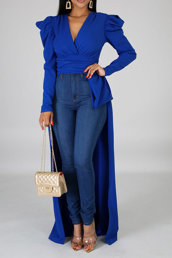 Irregular V-Neck Pleated Long Sleeve Top
