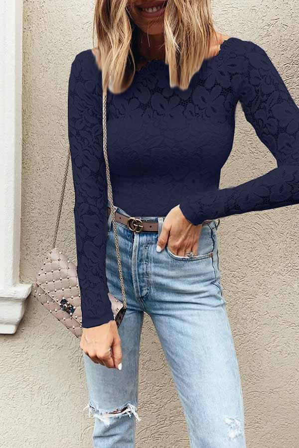 Off-The-Shoulder Lace Print Top