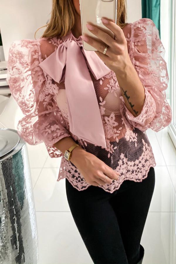 Lace Pleated Sleeve Bow Tie Top
