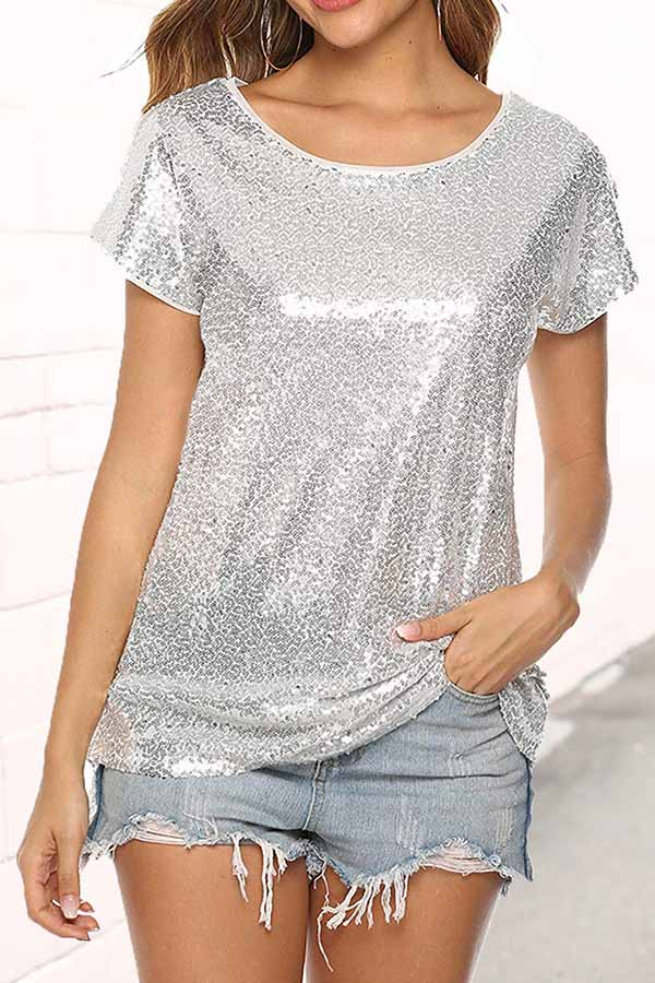 Solid Color Sequined Top