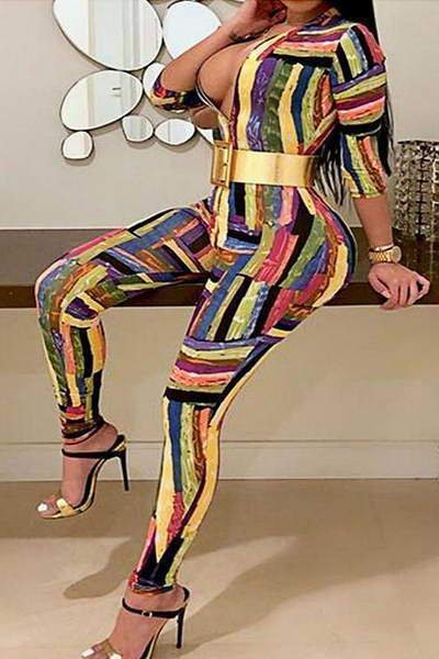 long-sleeve-deep-v-neck-long-funky-geometric-print-jumpsuit