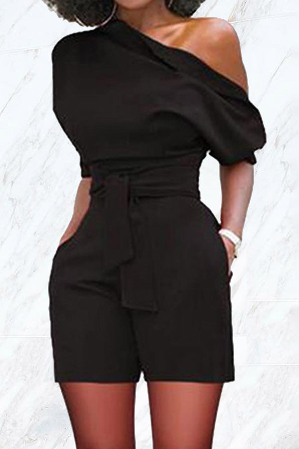Sexy Cool Shoulder Belt Romper