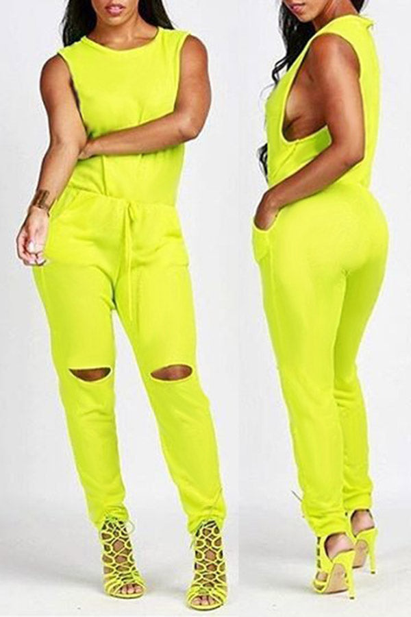 Drawstring Hollow Sexy Jumpsuit