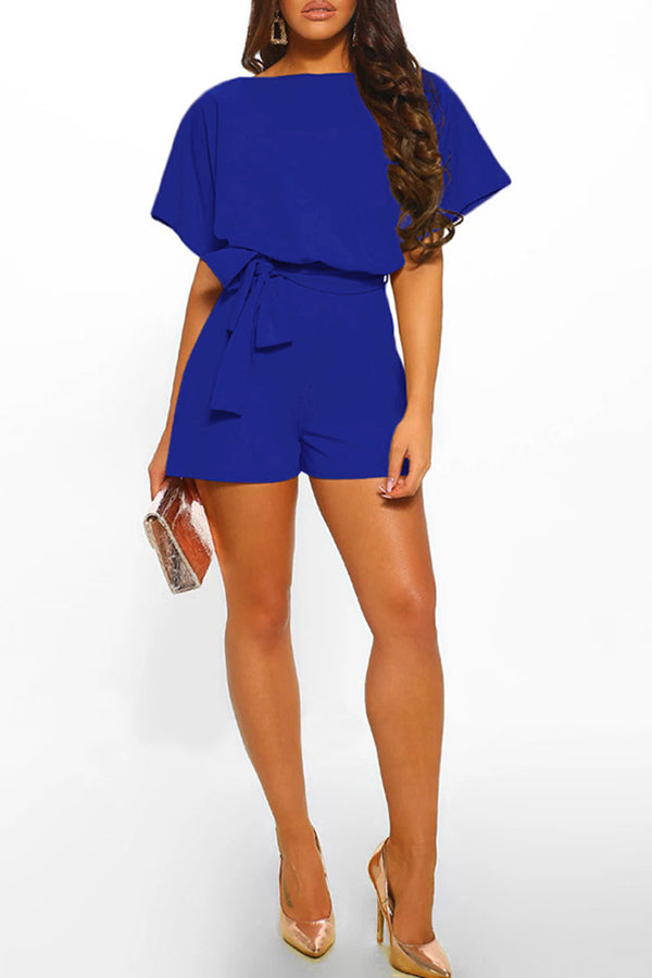Button Strappy Short-Sleev Jumpsuit