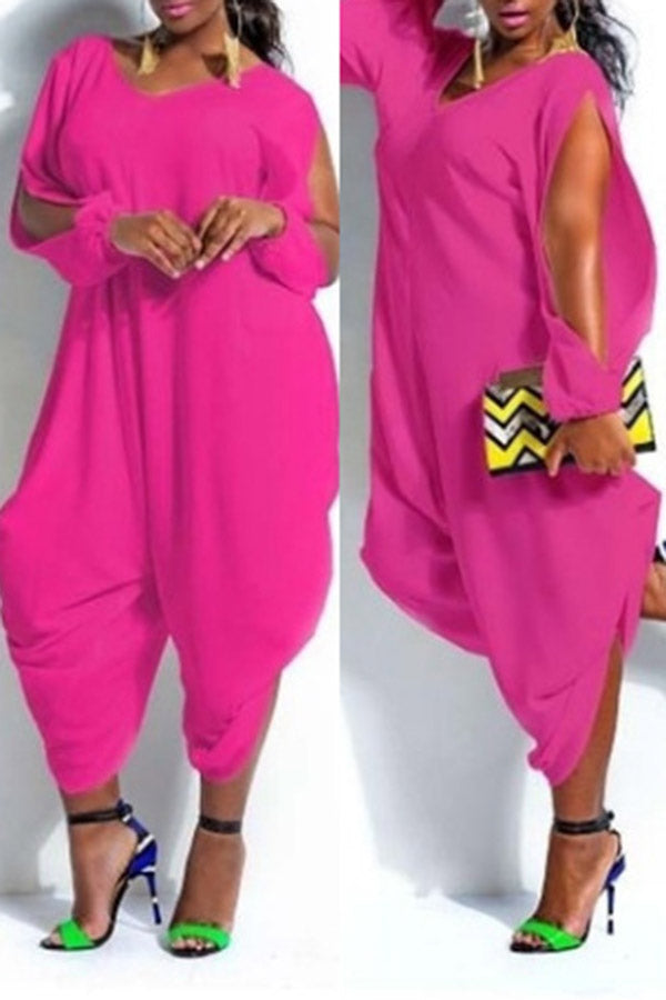 Solid Color Open Sleeve Jumpsuit