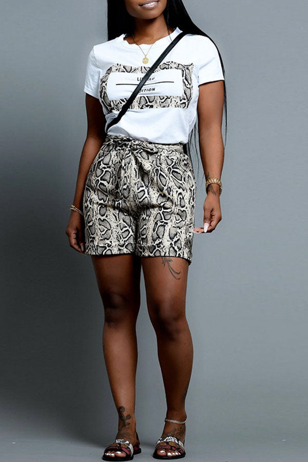 Printed Top Snake Pattern Strappy Shorts Set