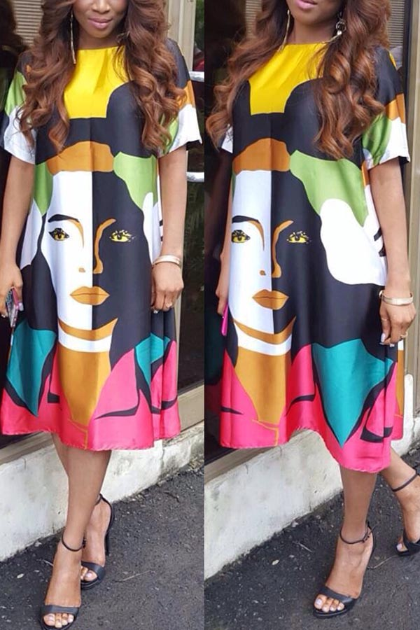 Location Printed Loose Dress