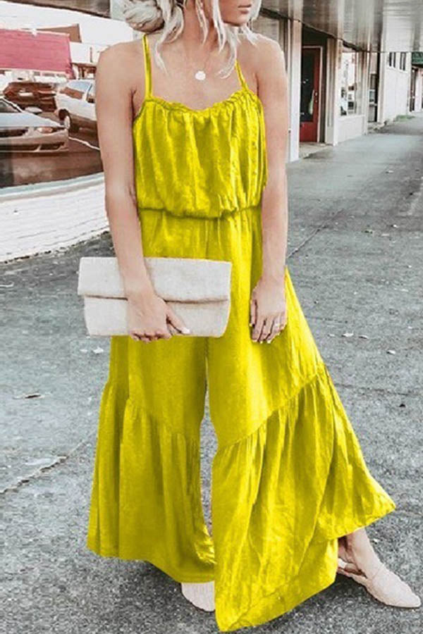 Loose Splicing Sleeveless Jumpsuit