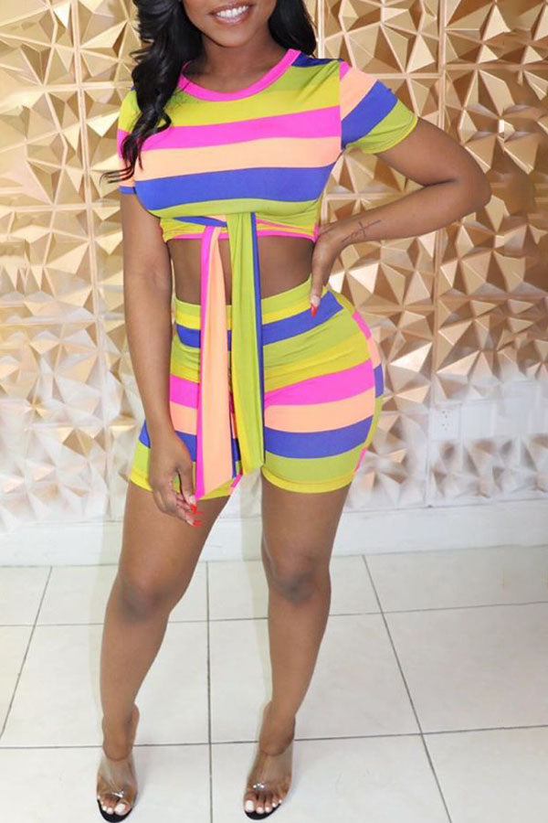 Rainbow Striped Strappy Shorts Suit